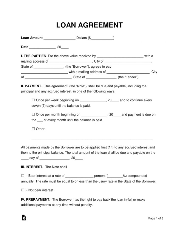 Free Printable Personal Loan Forms
