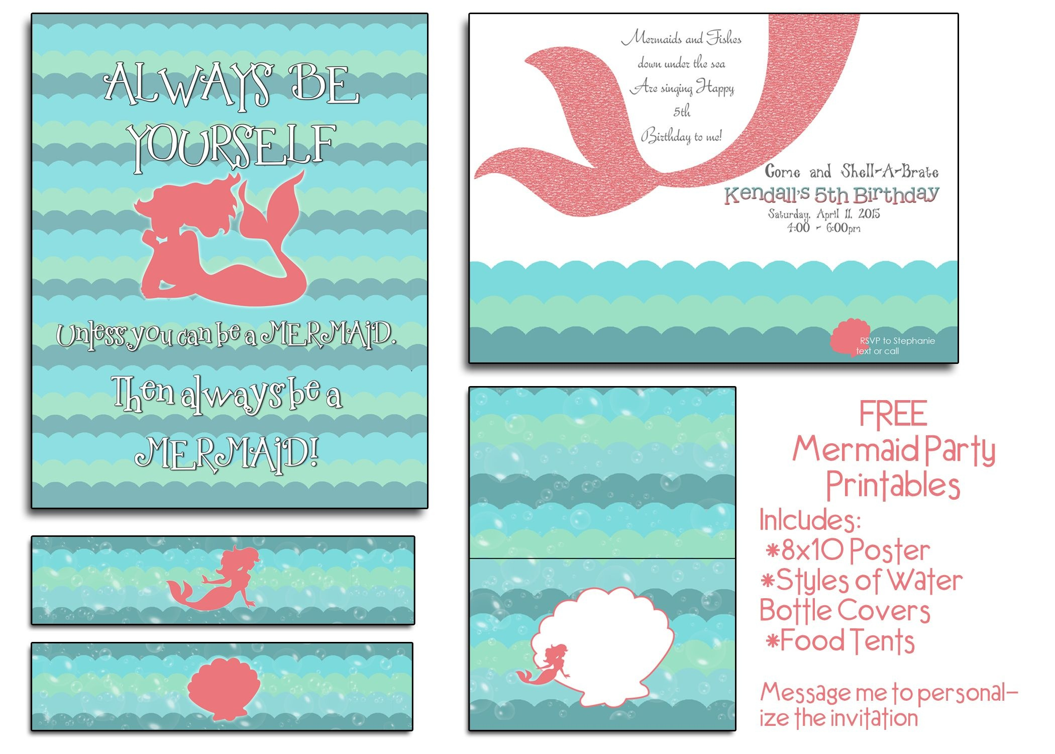 Free Mermaid Party Printables! I Will Even Customize The Invite At - Mermaid Birthday Invitations Free Printable