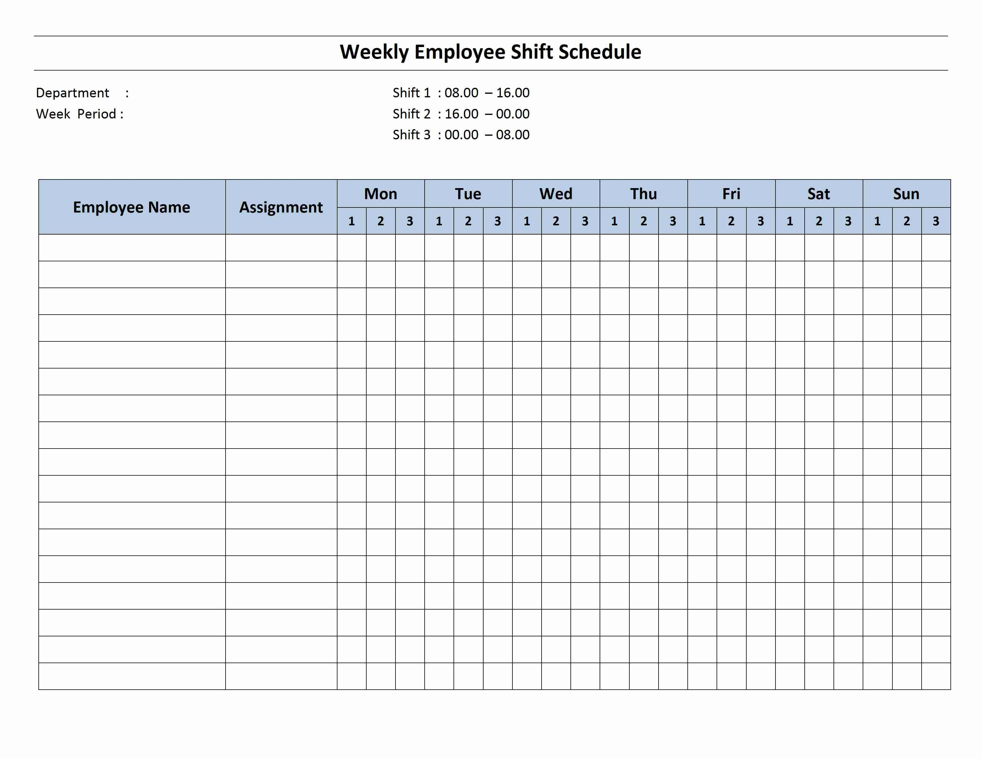 Free Monthly Work Schedule Template | Weekly Employee 8 Hour Shift - Free Printable Weekly Work Schedule