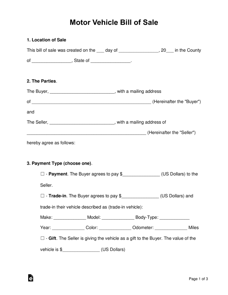 Free Motor Vehicle (Dmv) Bill Of Sale Form - Pdf | Word | Eforms - Free Printable Vehicle Bill Of Sale