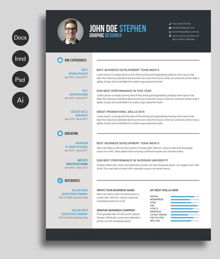 Free Ms.word Resume And Cv Template | Collateral Design | Free - Free Printable Resume Templates Microsoft Word