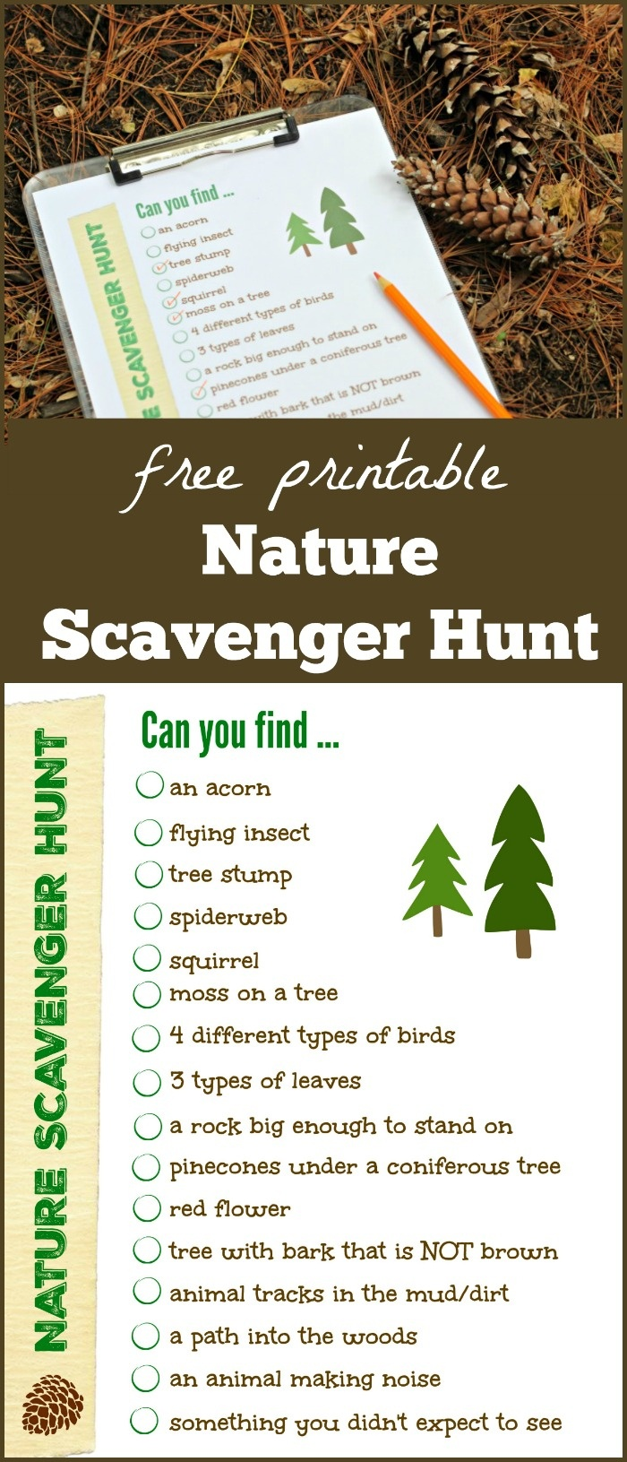 Free Nature Scavenger Hunt List {W/free Printable!} - Edventures - Free Printable Scavenger Hunt