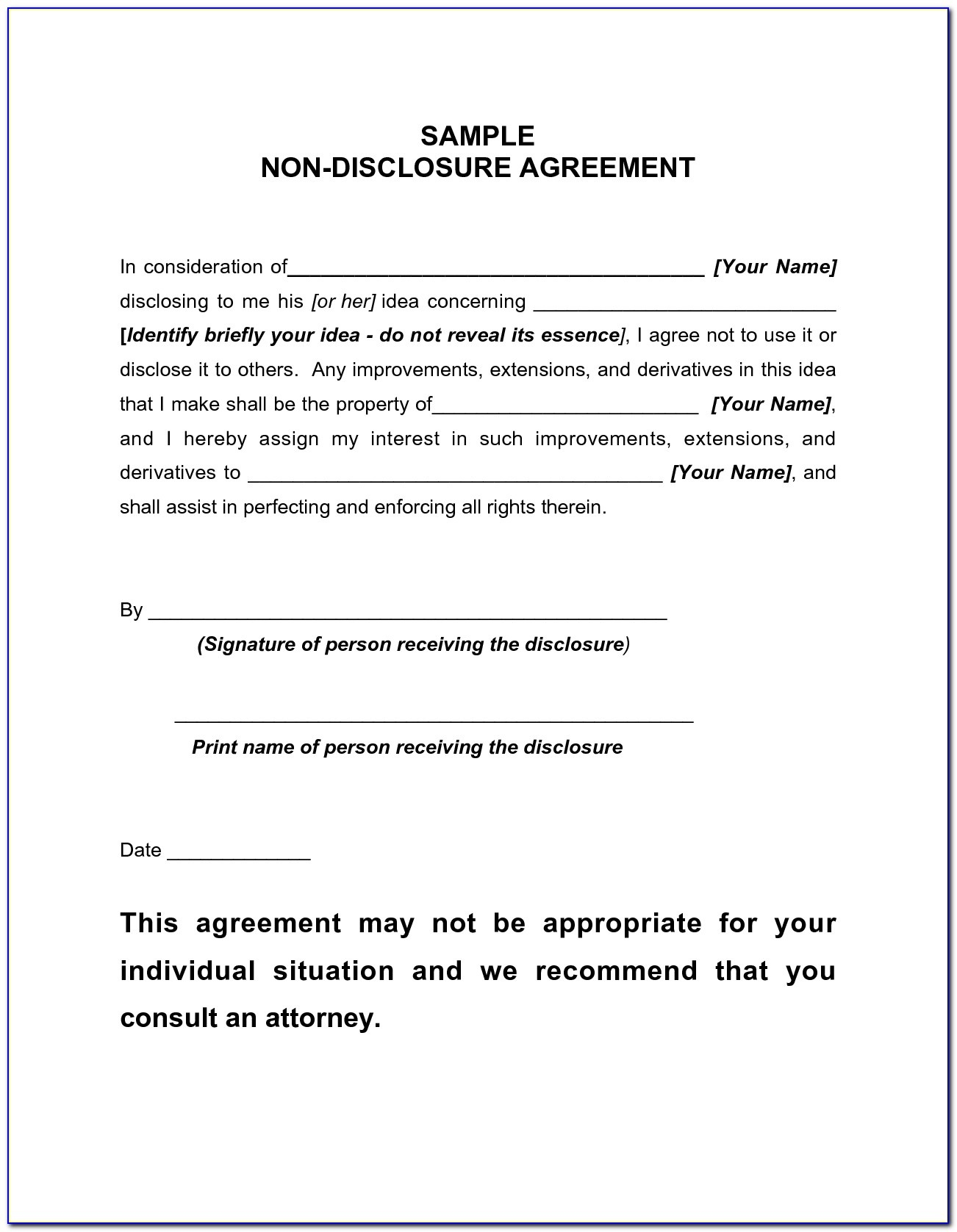 Free Non Disclosure Agreement Form Pdf - Form : Resume Examples - Free Printable Non Disclosure Agreement Form