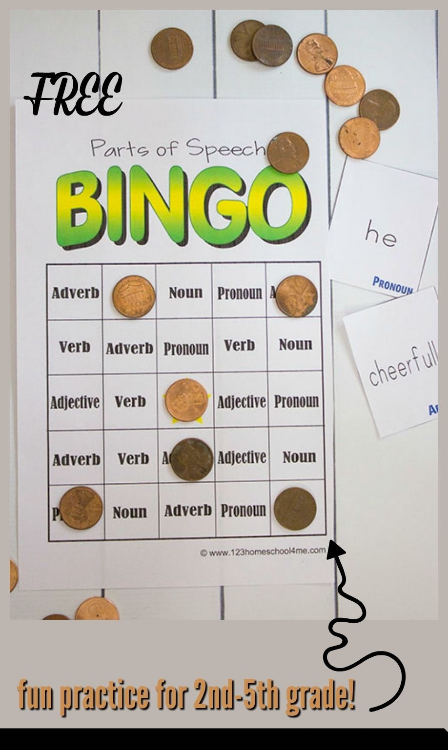 Free Parts Of Speech Game | Education | Parts Of Speech Games, Parts - Free Printable Parts Of Speech Bingo