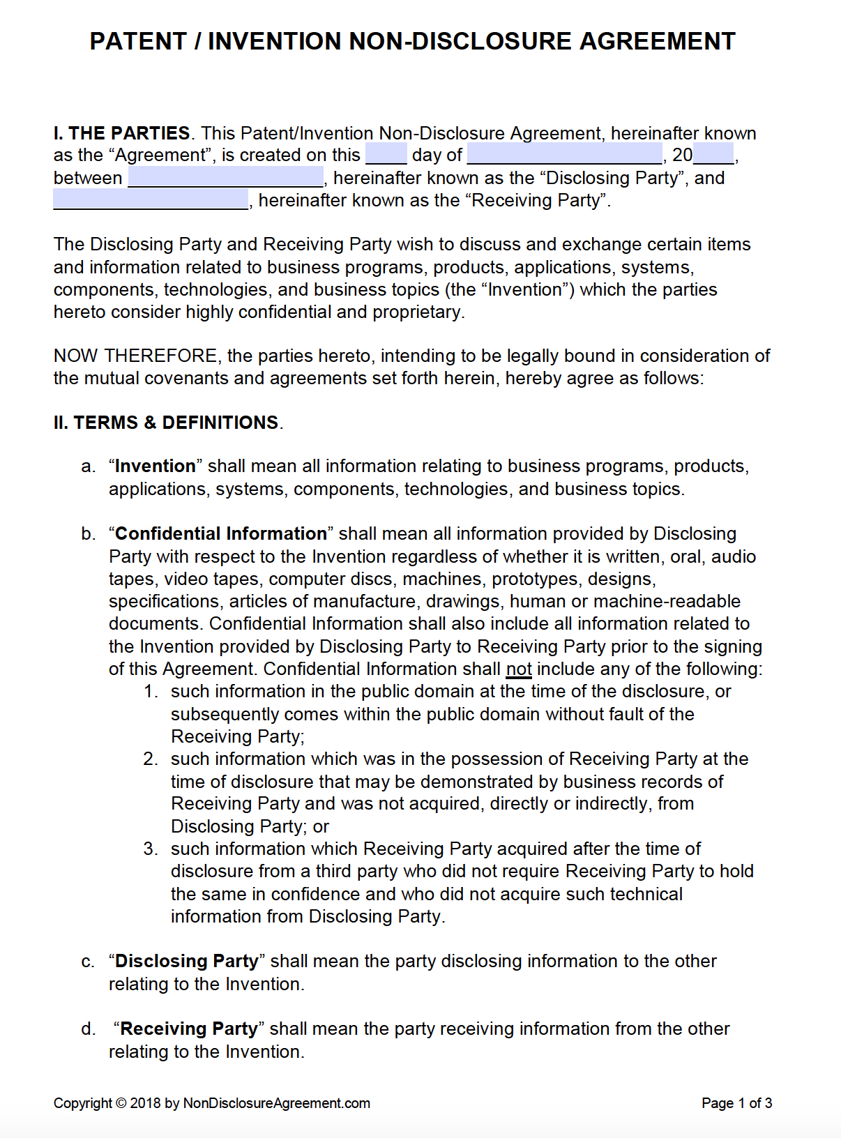 Free Patent (Invention) Non-Disclosure Agreement (Nda) | Pdf | Word - Free Printable Non Disclosure Agreement Form