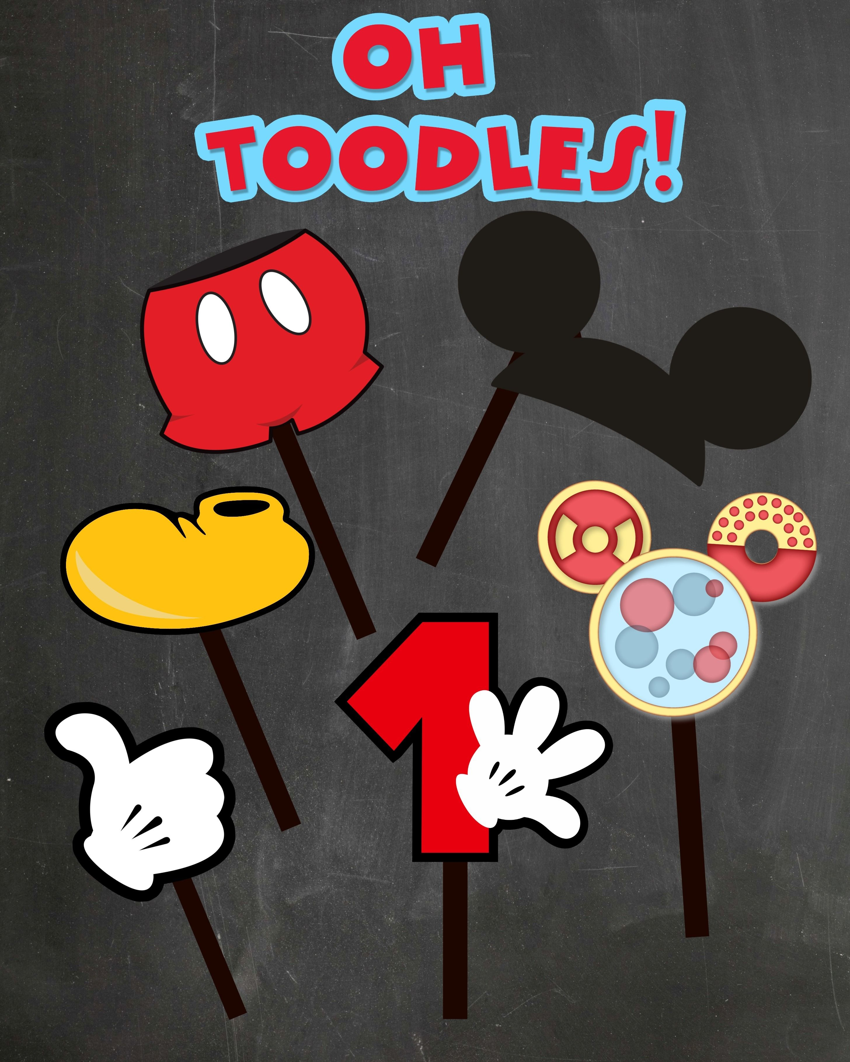 Free Photo Props Mickey Mouse Printable & Templates   Birthday Ideas - Free Printable Mickey Mouse Decorations