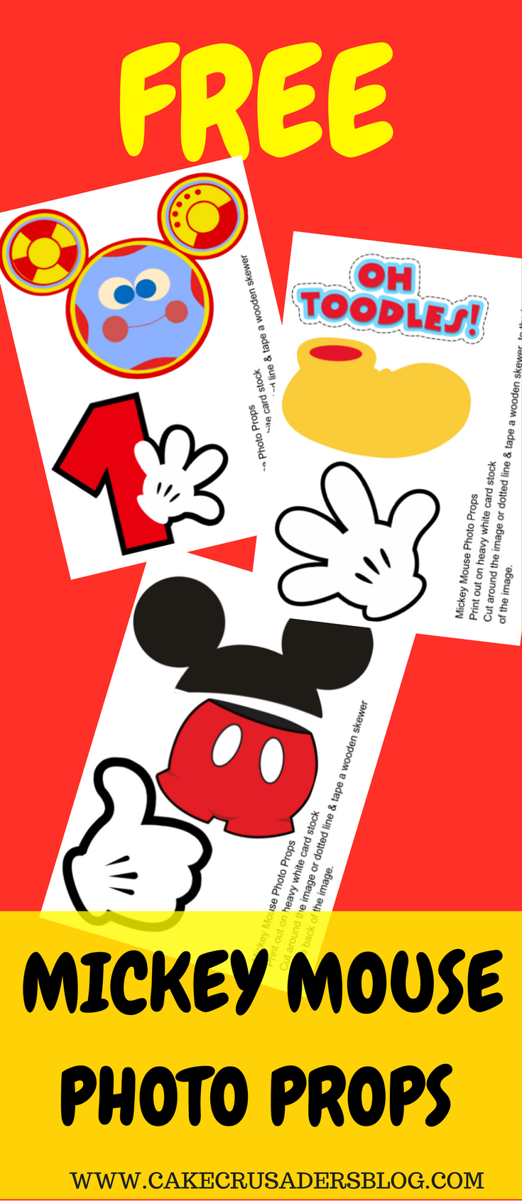 Free Photo Props Mickey Mouse Printable & Templates | Photo Booth - Free Printable Mickey Mouse Favor Tags