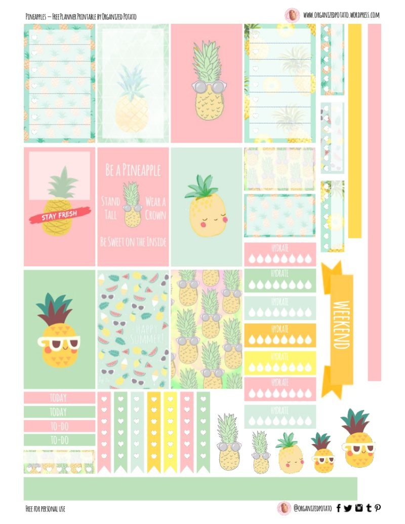 Free Planner Printable: Pineapples | Planners & Bullet Journals - Free Printable Stickers