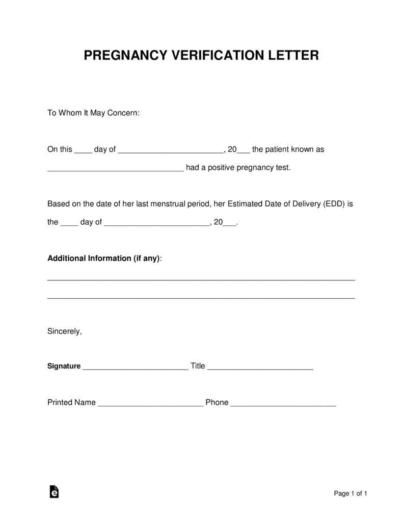 Free Pregnancy Verification Form - Pdf | Word | Eforms – Free - Free Printable Medical Forms Kit