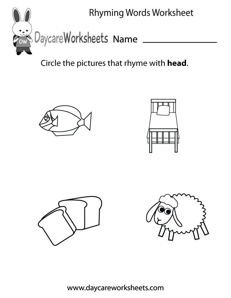 Free Preschool Rhyming Practice Worksheet - Free Printable Rhyming Words