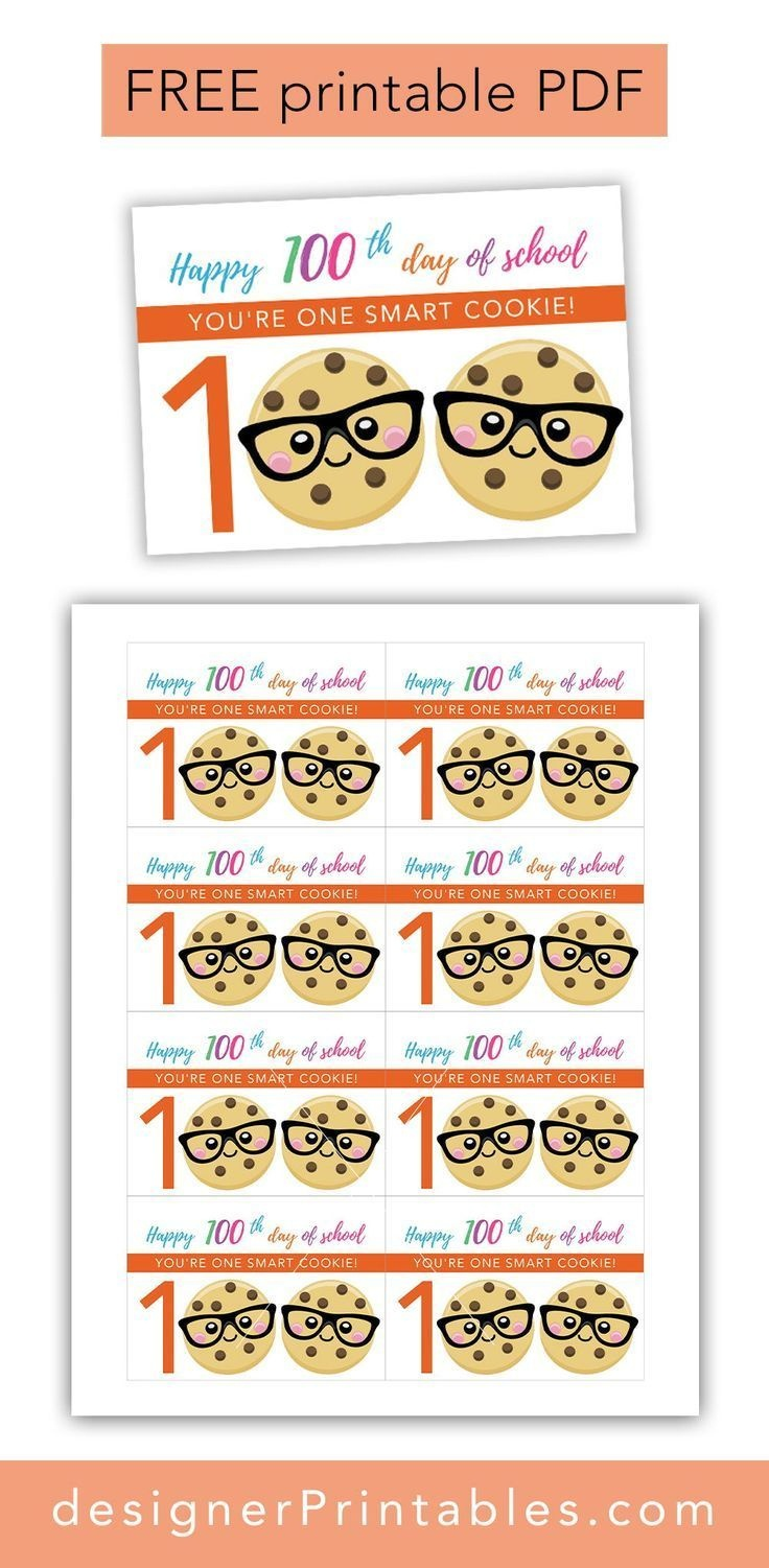 Free Printable: 100Th Day Of School - One Smart Cookie | Downloads + - 100Th Day Of School Printable Glasses Free