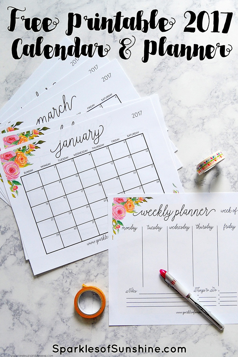 Free Printable 2017 Monthly Calendar And Weekly Planner - Free Printable Agenda 2017