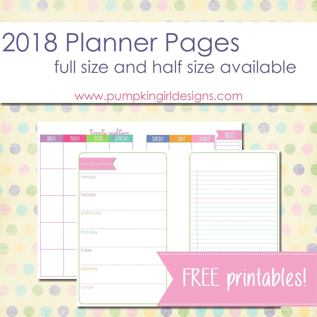 Free Printable 2018 Blank Planner Pages   Pumpkingirl Designs - Free Printable Diary Pages