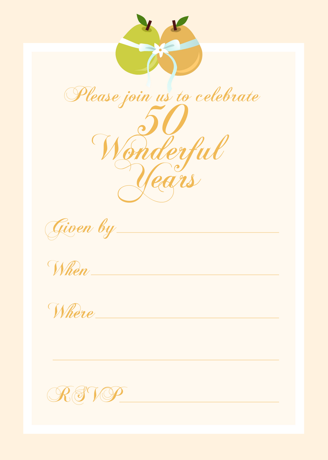 Free Printable 50 Year Anniversary Party Invitation | Free Printable - Free Printable 50Th Anniversary Cards