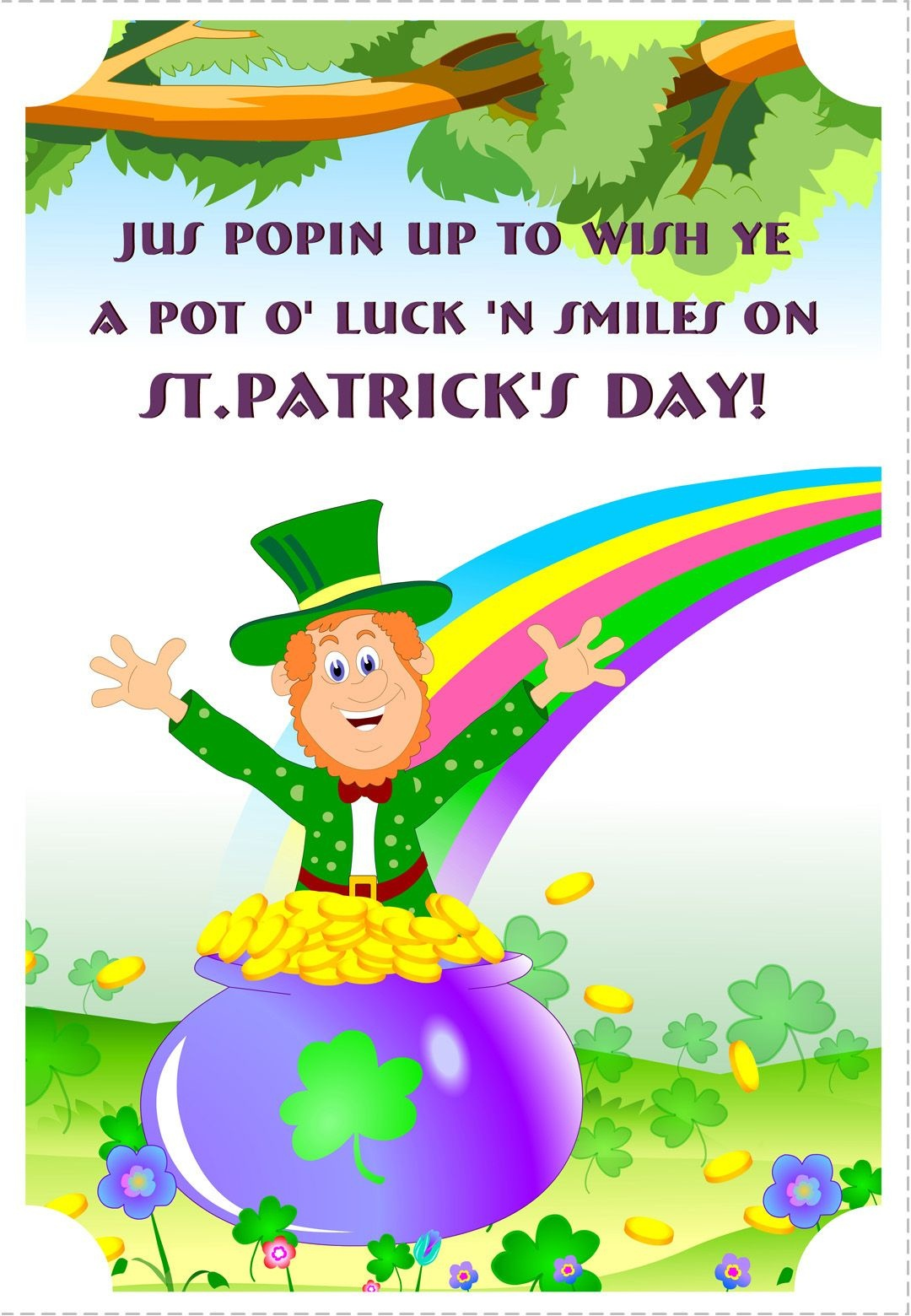 Free Printable A Pot Of Luck St Patrick's Greeting Card | Printable - Free Printable St Patrick's Day Card