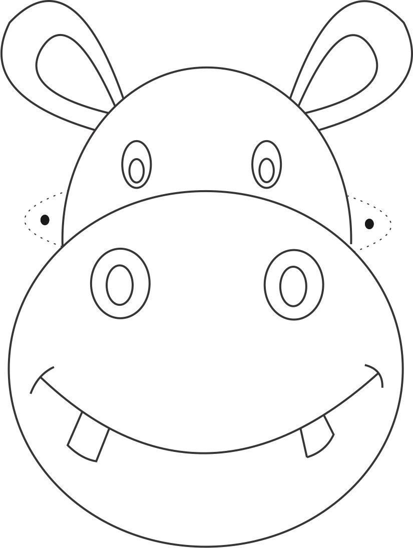 Free Printable Animal Masks Templates | Hippo Mask Printable - Giraffe Mask Template Printable Free