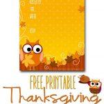 Free Printable Autumn Owl Thanksgiving Invitation Template | Party   Free Printable Thanksgiving Invitations