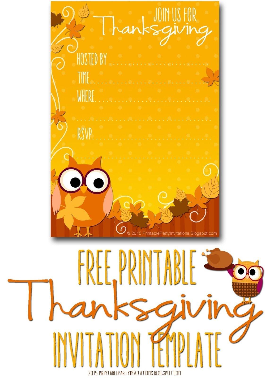 Free Printable Autumn Owl Thanksgiving Invitation Template | Party - Free Printable Thanksgiving Invitations