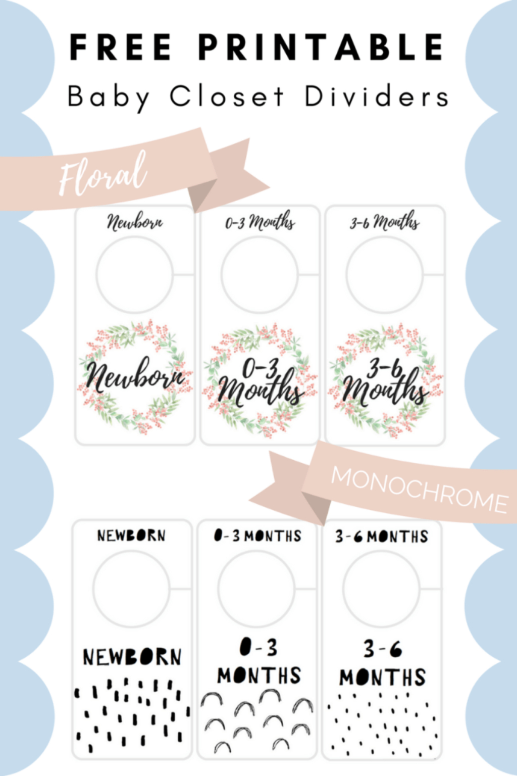 Free Printable Baby Closet Dividers Preemie To 24 Months - 2 Styles - Free Printable Dividers