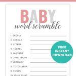 Free Printable Baby Shower Games. Download Fun Printable Baby Shower   Free Printable Baby Shower Games Word Scramble