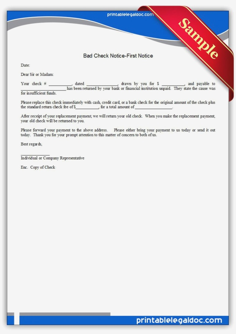 Free Printable Bad Check Notice-First Notice | Sample Printable - Free Printable Divorce Papers Nevada