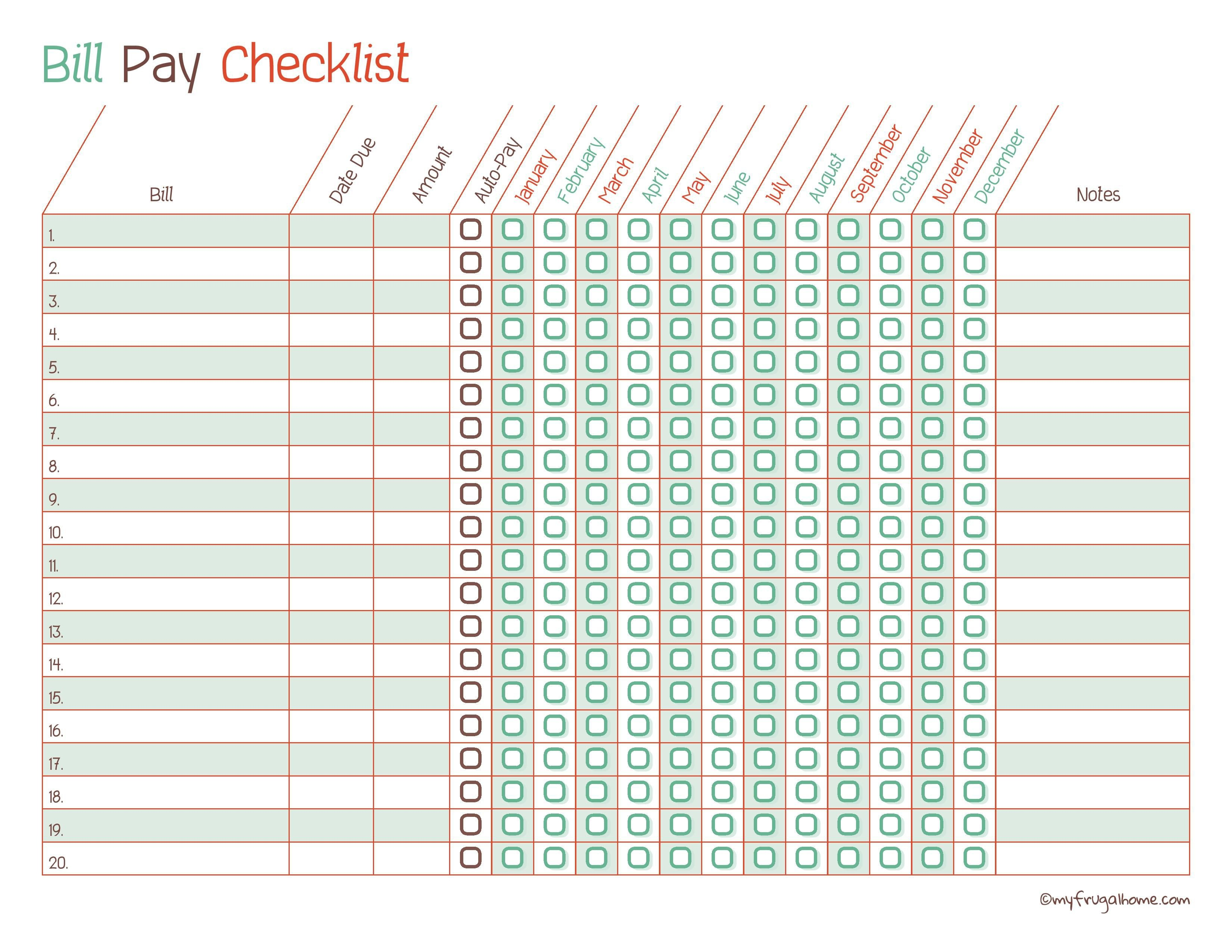 Free Printable Bill Pay Calendar Templates - Free Printable Bill Pay Checklist