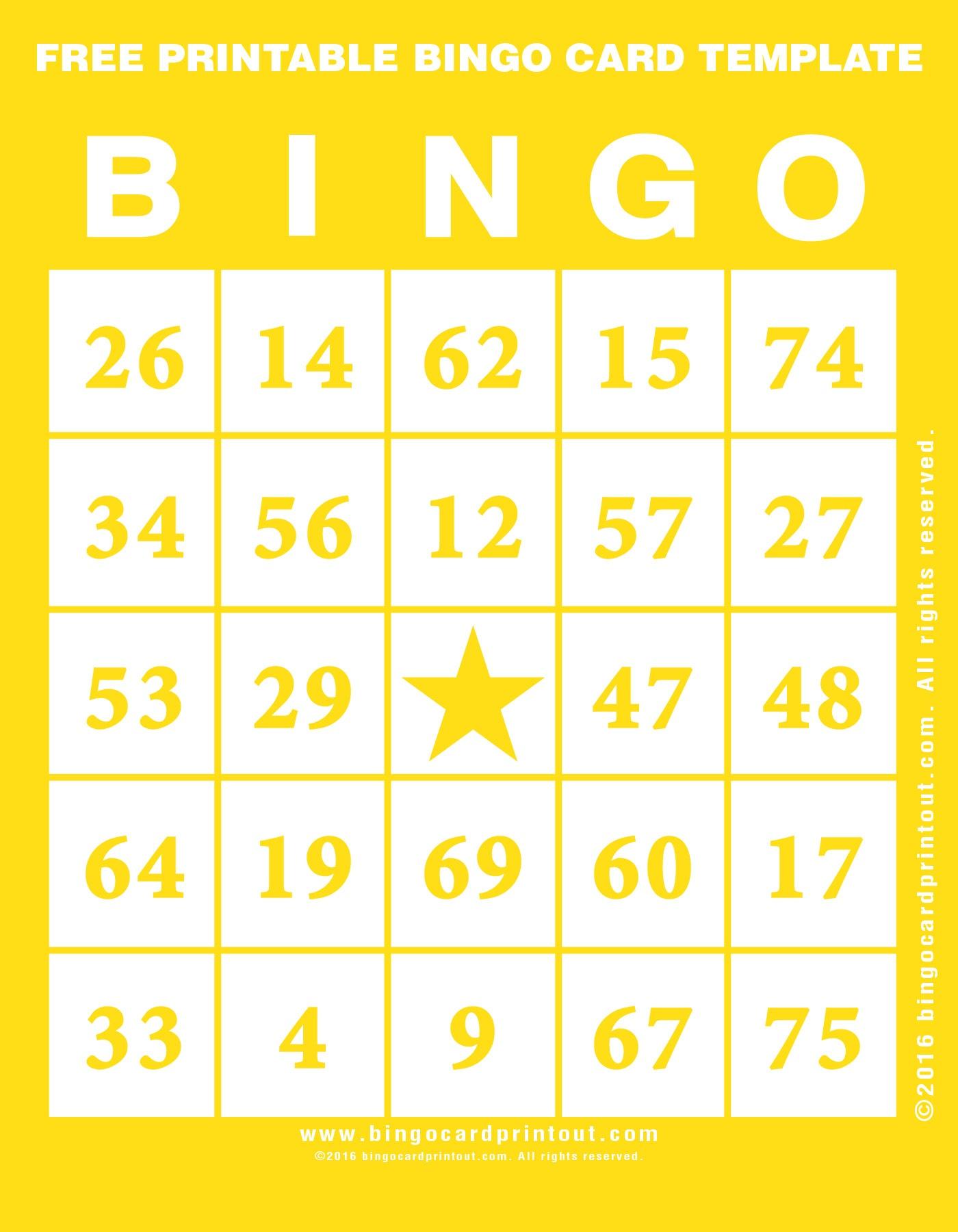 Free Printable Bingo Card Template - Bingocardprintout - Free Printable Bingo Cards