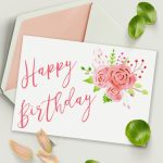 Free Printable Birthday Card With Watercolor Floral Design   Free Printable Personalized Birthday Cards