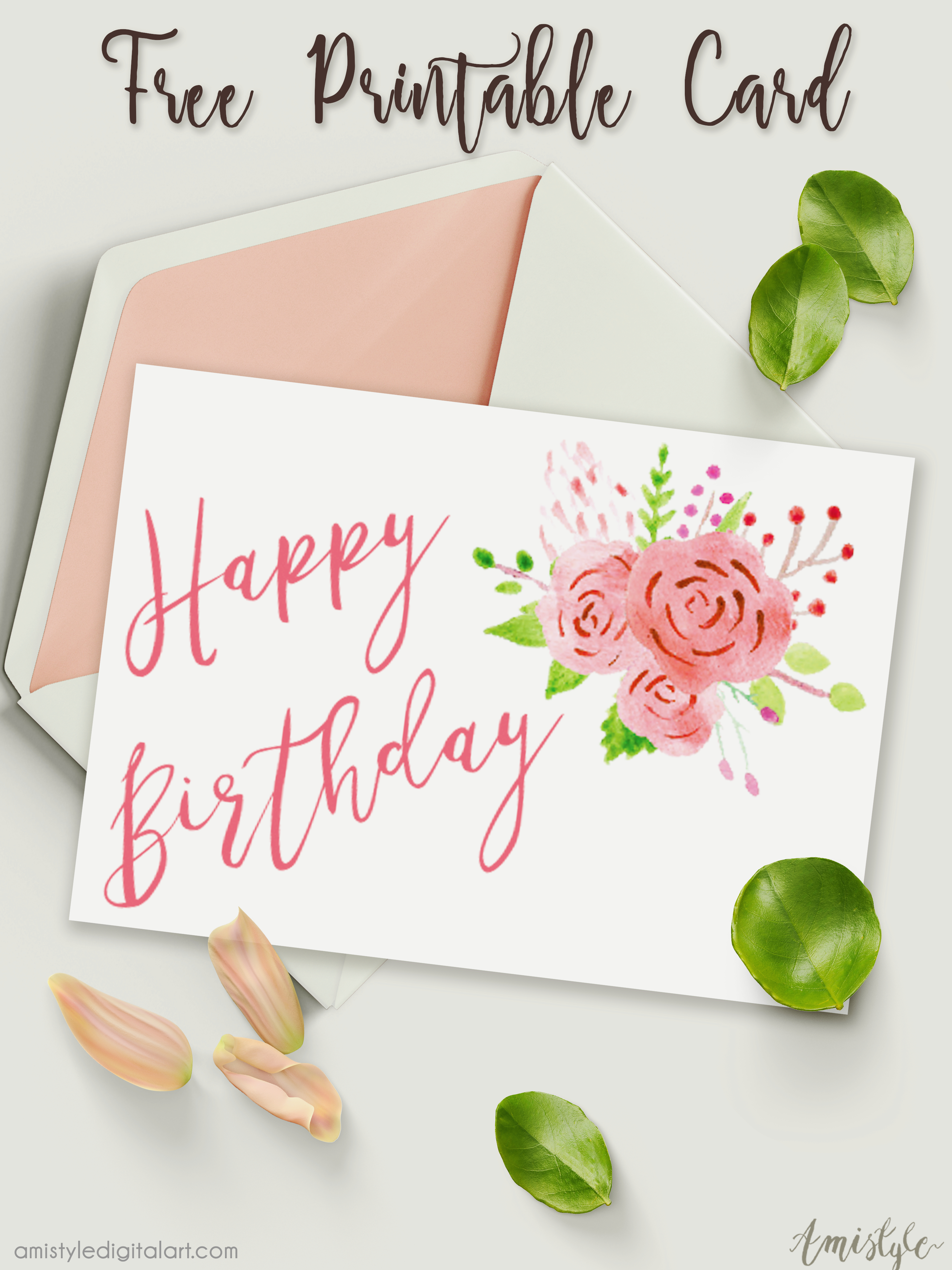 Free Printable Birthday Card With Watercolor Floral Design - Free Printable Personalized Birthday Cards