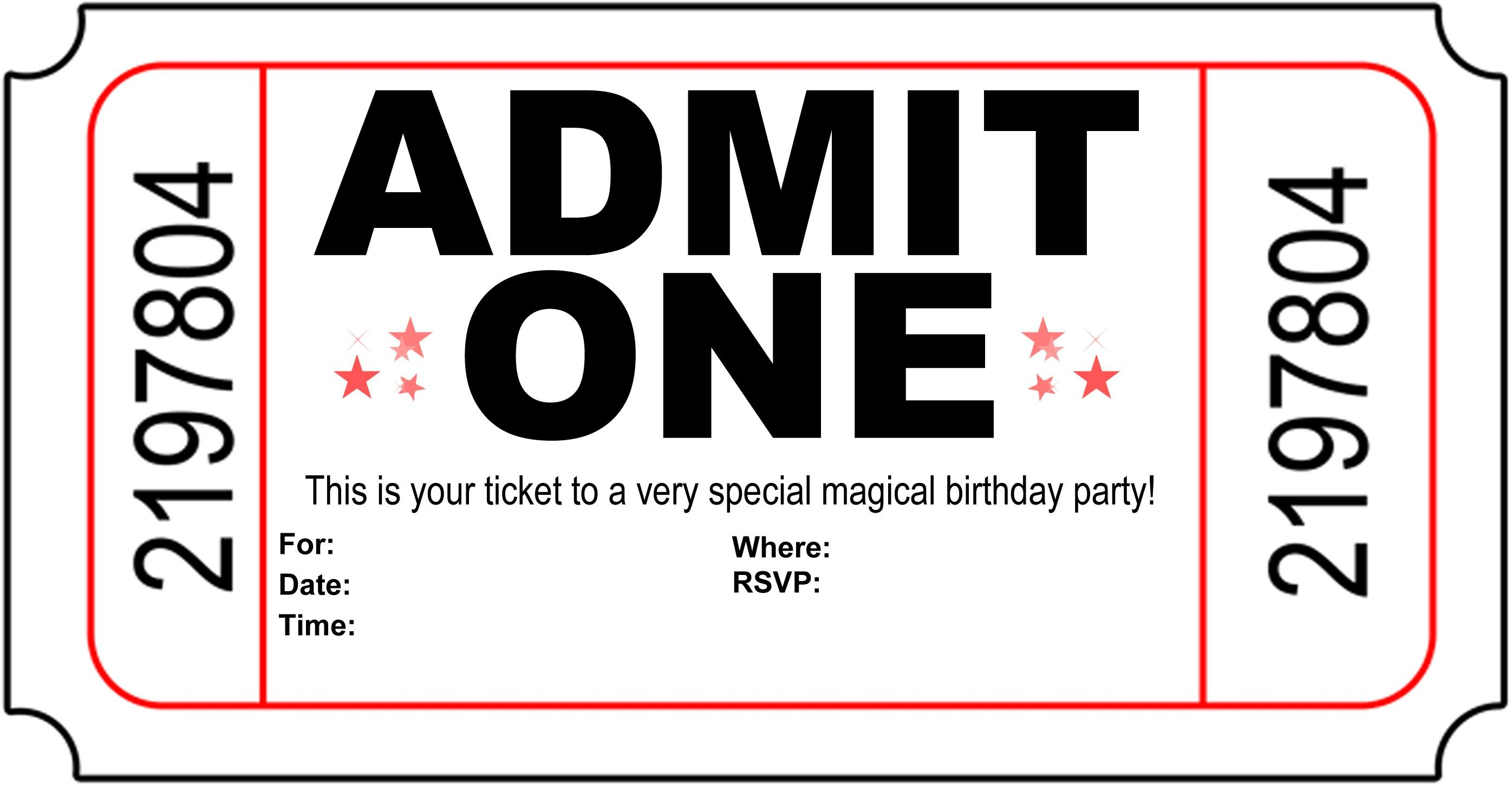 Free Printable Birthday Party Invitations - Kansas Magician | Magic - Free Printable Ticket Invitation Templates