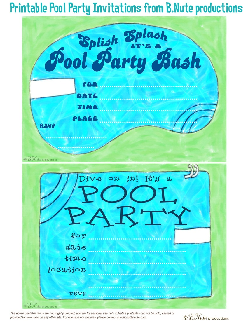 Free Printable Birthday Pool Party Invitations — Birthday Invitation - Free Printable Pool Party Invitation Cards