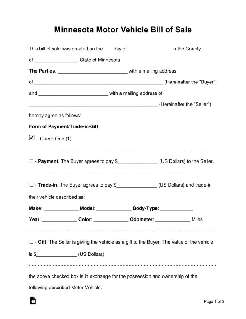 Free Printable Blank Bill Of Sale Formplate As Is Generic Word - Free Printable Vehicle Bill Of Sale