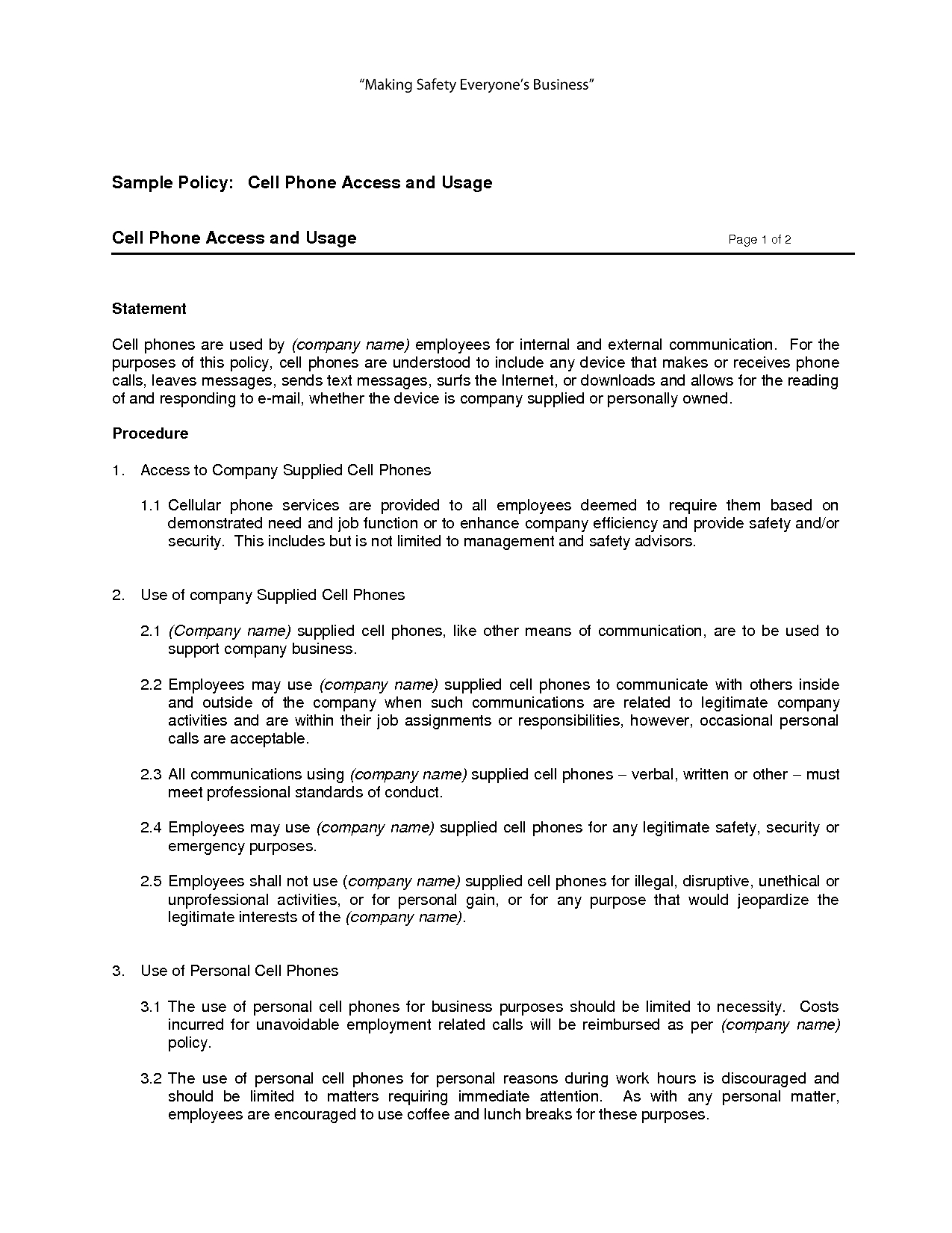 Free Printable Cell Phone Policy Form (Generic) | Sample Printable - Free Printable Legal Documents Forms