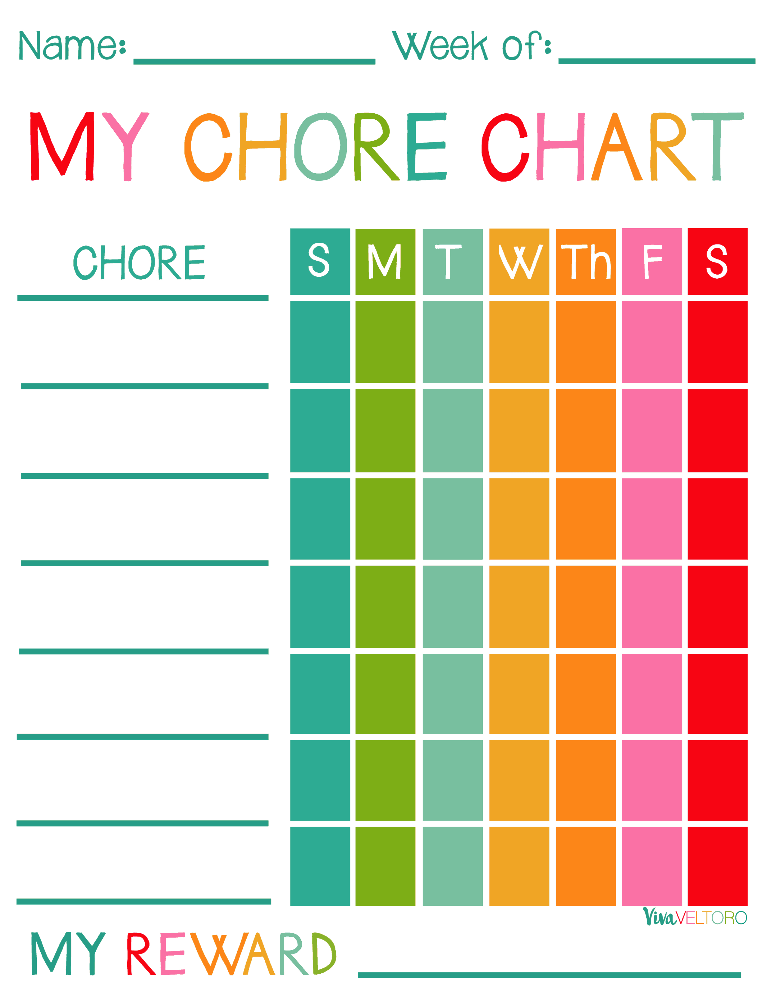 Free Printable Chore Charts For Kids! - Viva Veltoro - Free Printable Chore Charts