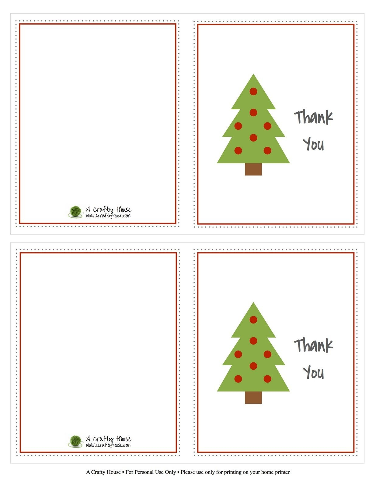 Free Printable Christmas Card Thank You Note | A Crafty House - Christmas Thank You Cards Printable Free
