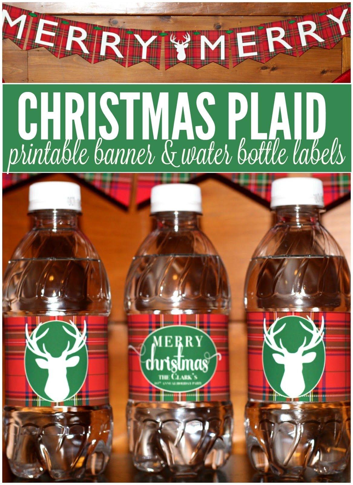 Free Printable Christmas Plaid Tartan Water Bottle Labels And - Christmas Water Bottle Labels Free Printable