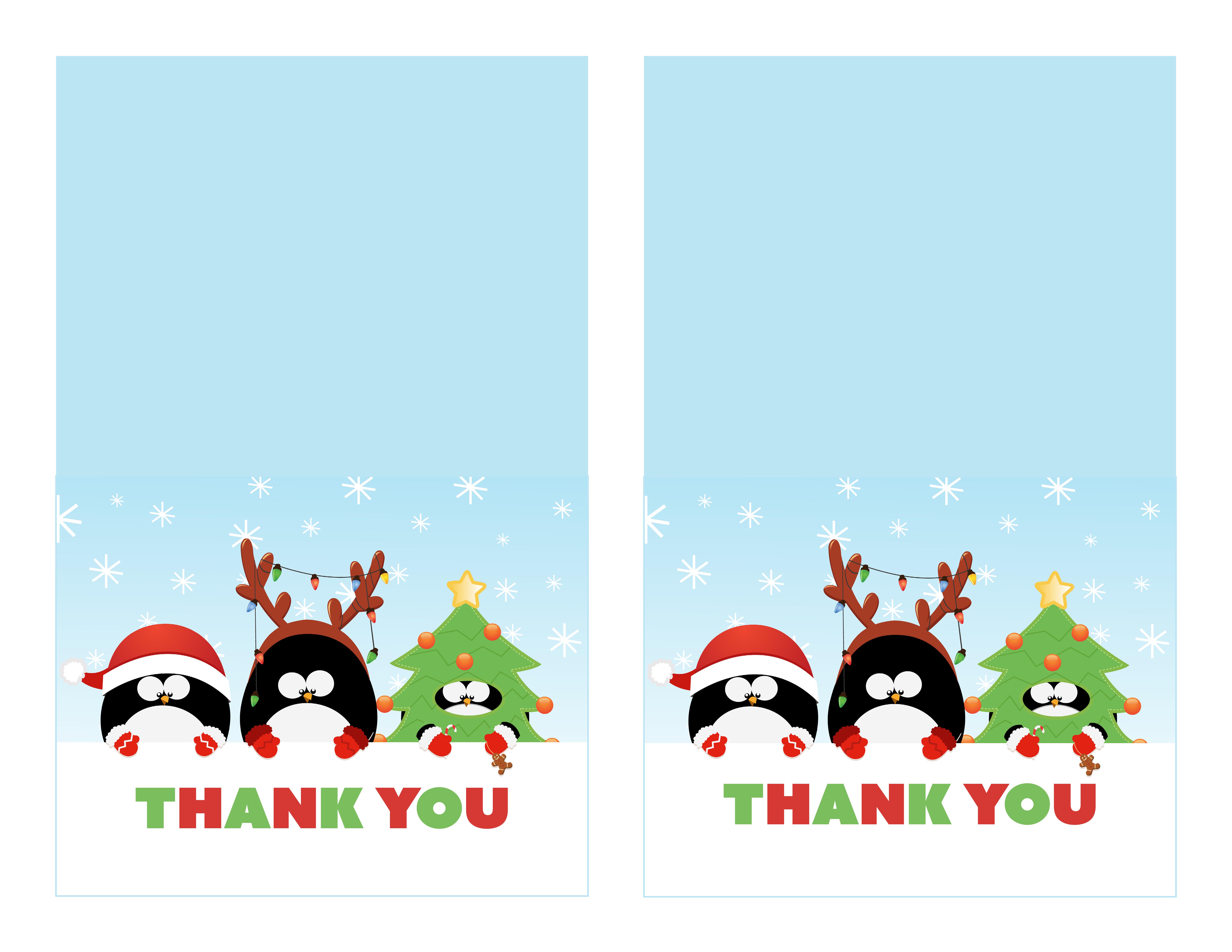 Free Printable Christmas Thank You Cards - Printable Cards - Christmas Thank You Cards Printable Free