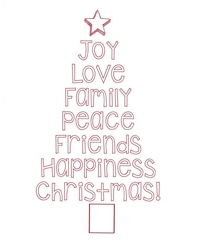 Free Printable Christmas Tree Word Art & Pillow Idea   Holiday - Merry Christmas Stencil Free Printable