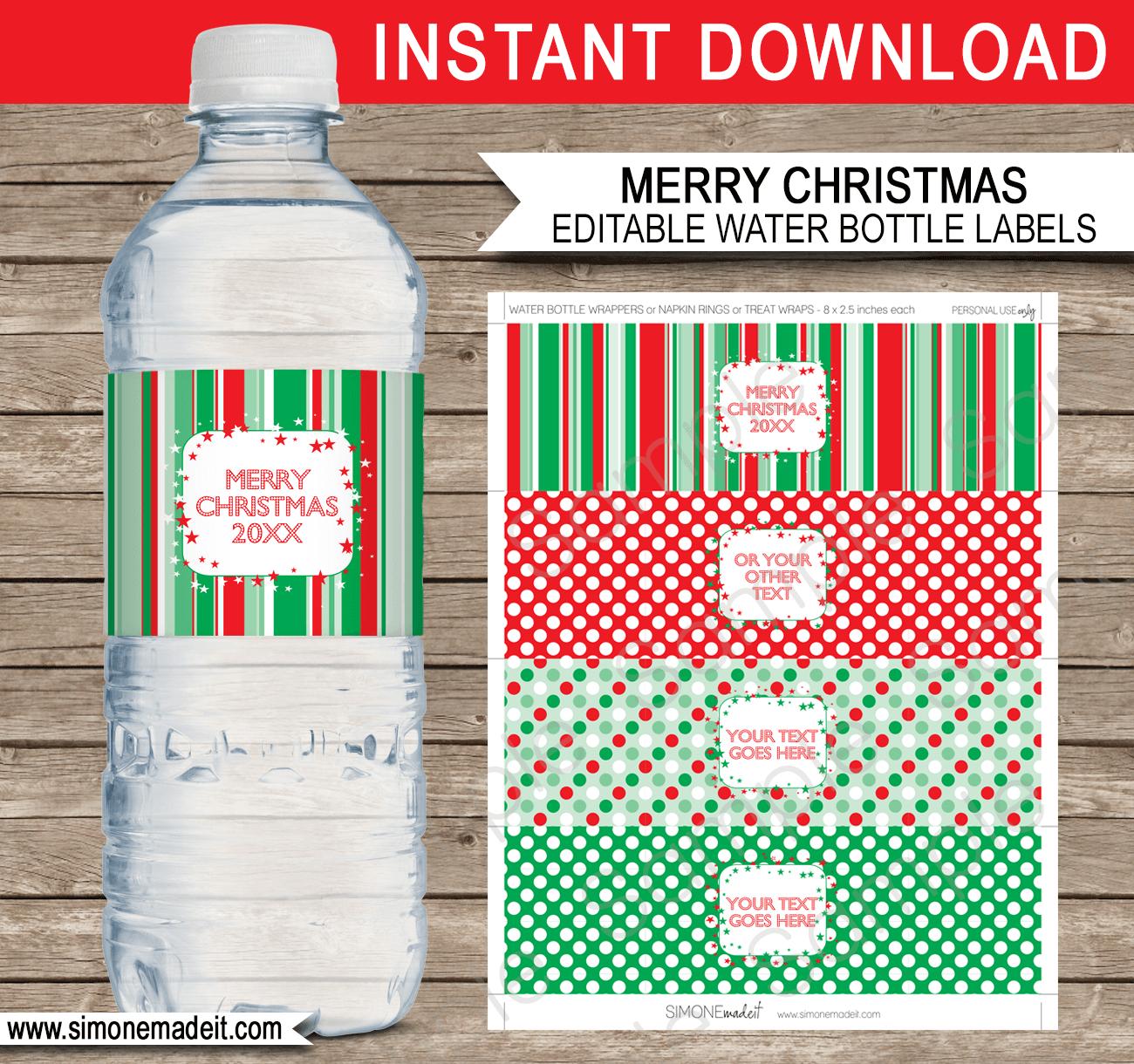 Free Printable Christmas Water Bottle Labels – Festival Collections - Christmas Water Bottle Labels Free Printable