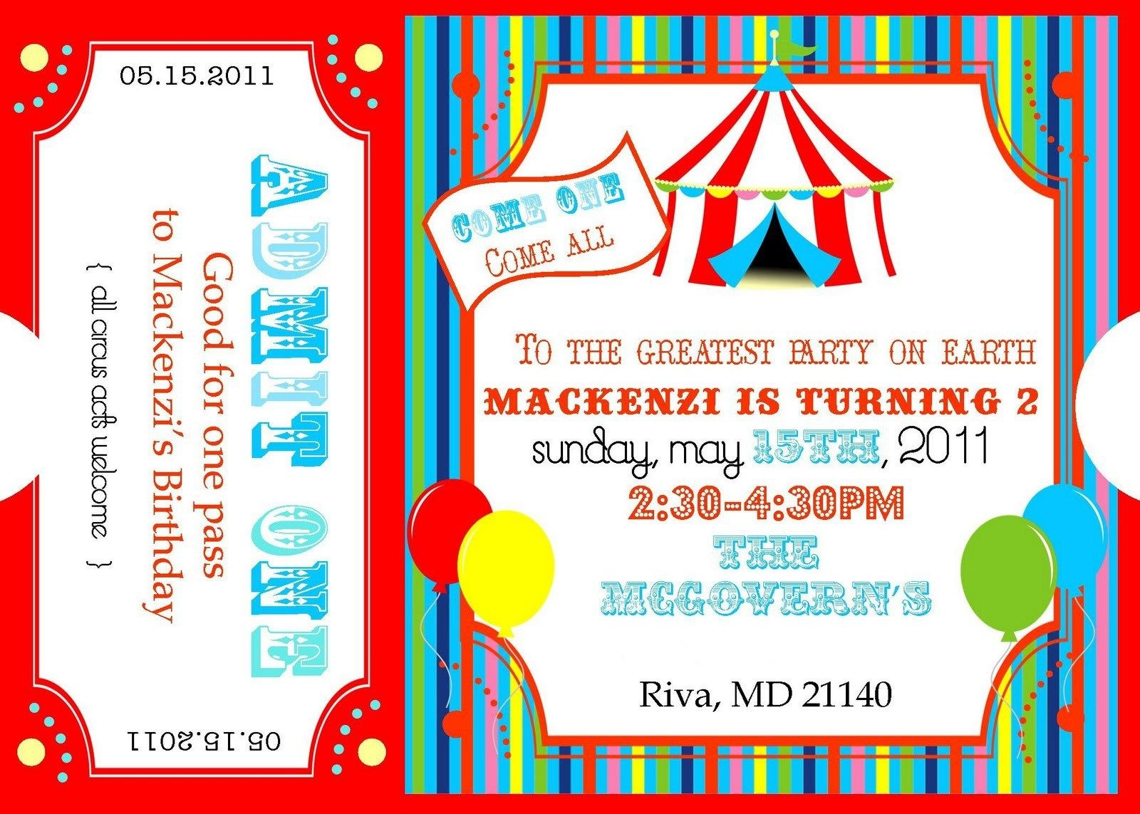 Free Printable Circus Invitation Templates. Please Forgive My Photos - Free Printable Ticket Invitation Templates