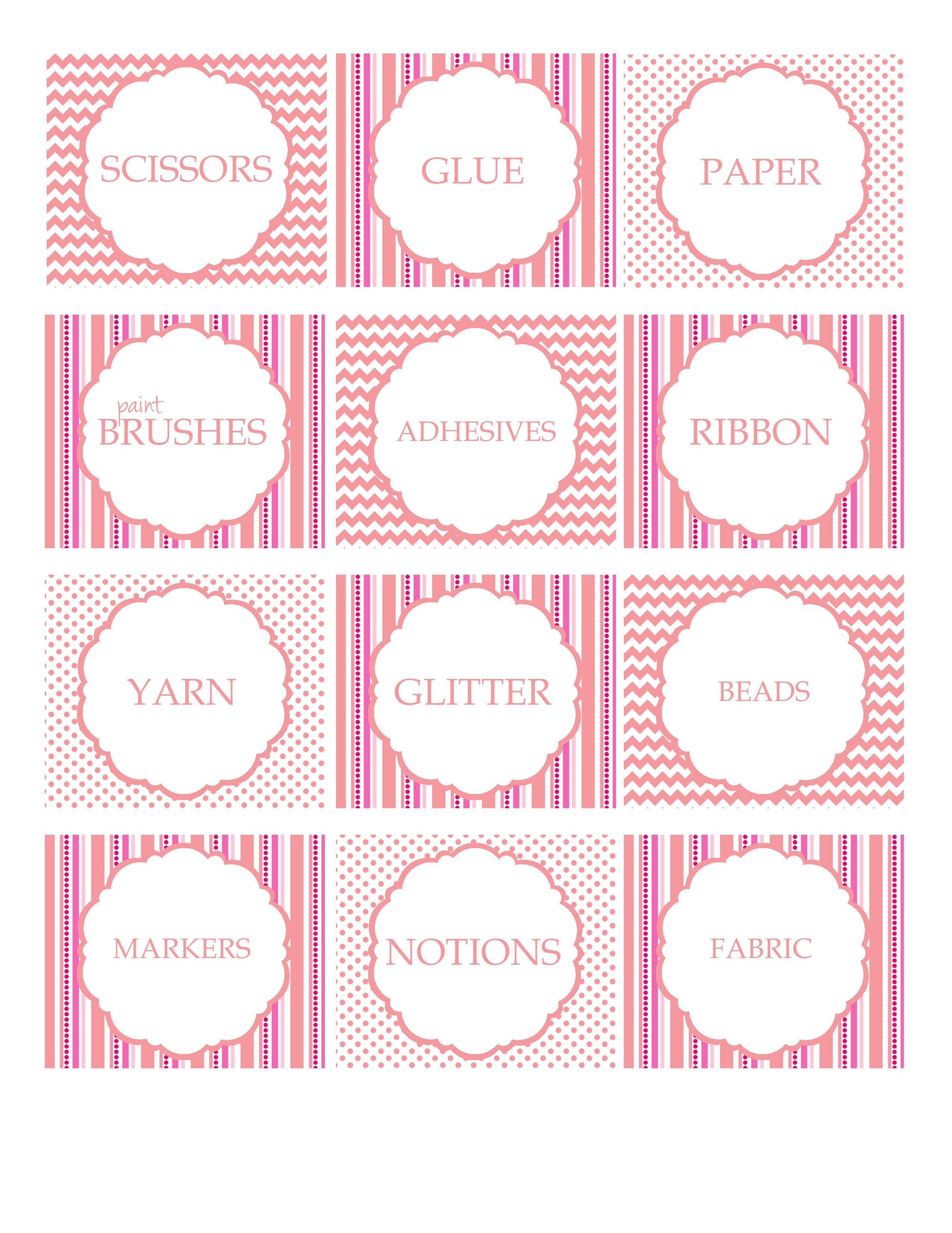 Free Printable Craft Supply Labels - Craft Storage Ideas - Pink - Free Printable Crafts