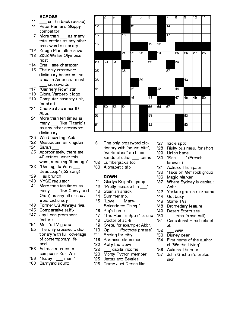 Free Printable Crossword Puzzles For Adults | Puzzles-Word Searches - Free Printable Puzzles For Adults