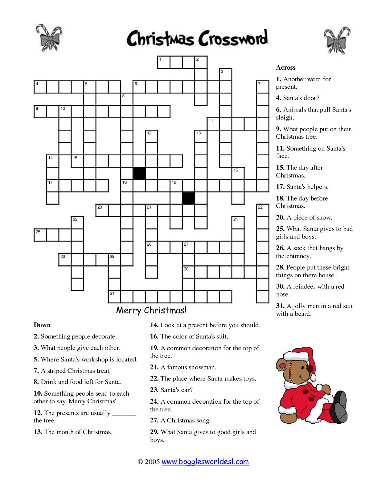 Free Printable Crossword Puzzles | M34 | Free Printable Crossword - Free Printable Christmas Puzzles