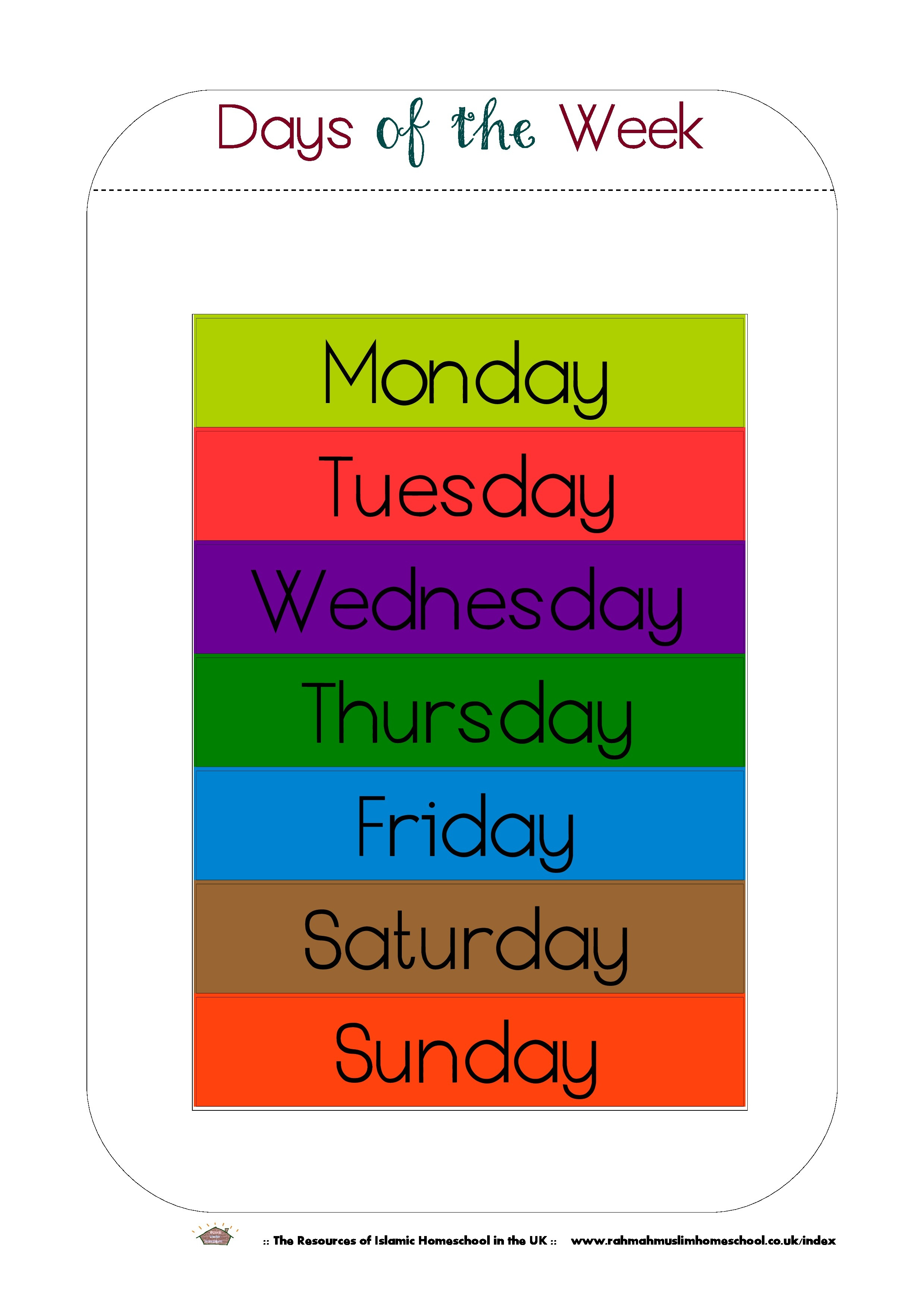 Free Printable Days Of The Week Workbook And Poster   The Resources - Free Printable Days Of The Week Cards