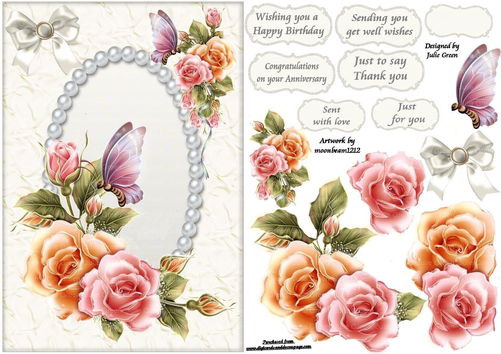 Free Printable Decoupage Card Templates - Google Search | 3D - Free Printable Decoupage Flowers