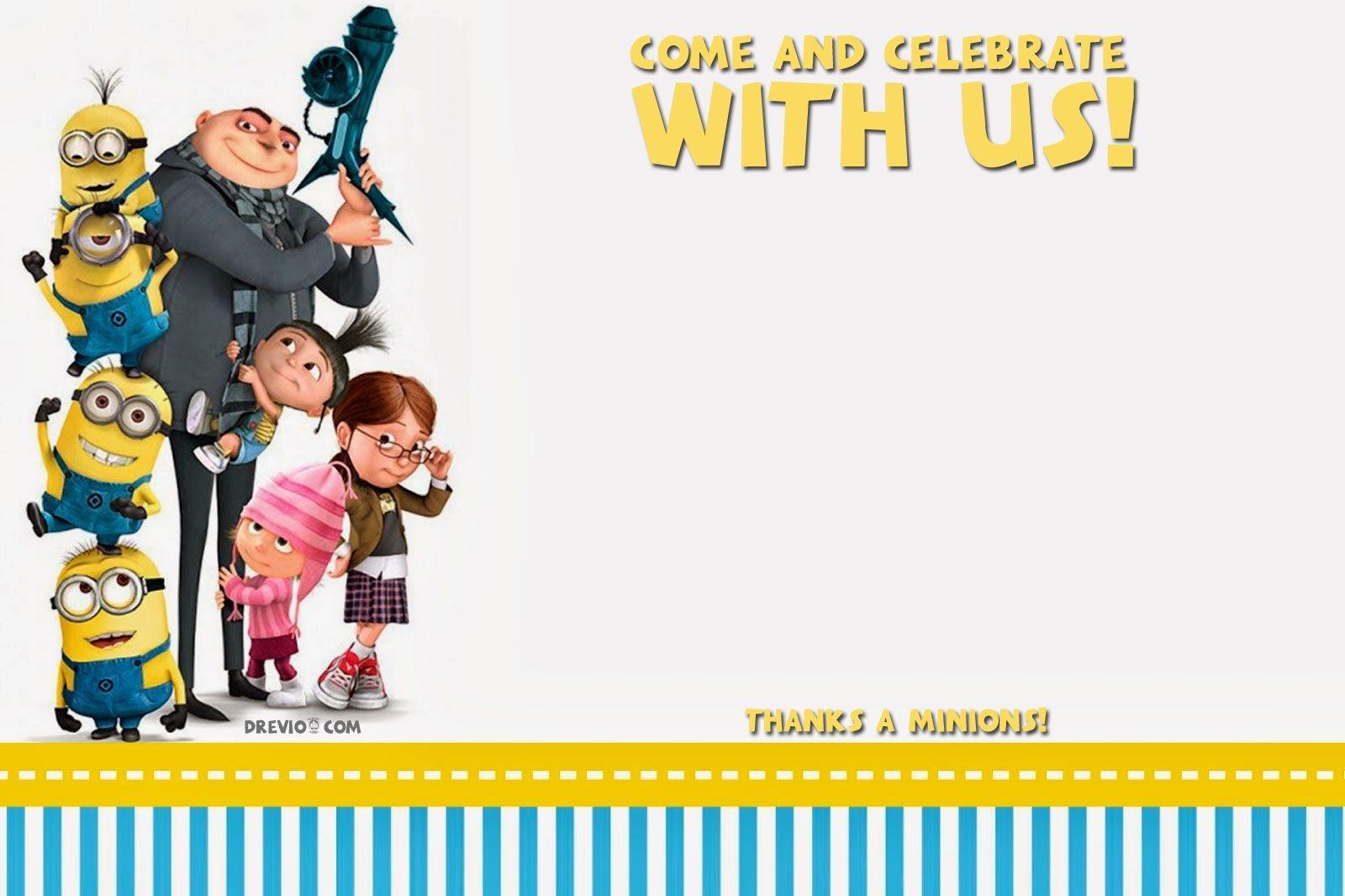 Free Printable Despicable Me Birthday Invitation | Free Printable - Thanks A Minion Free Printable