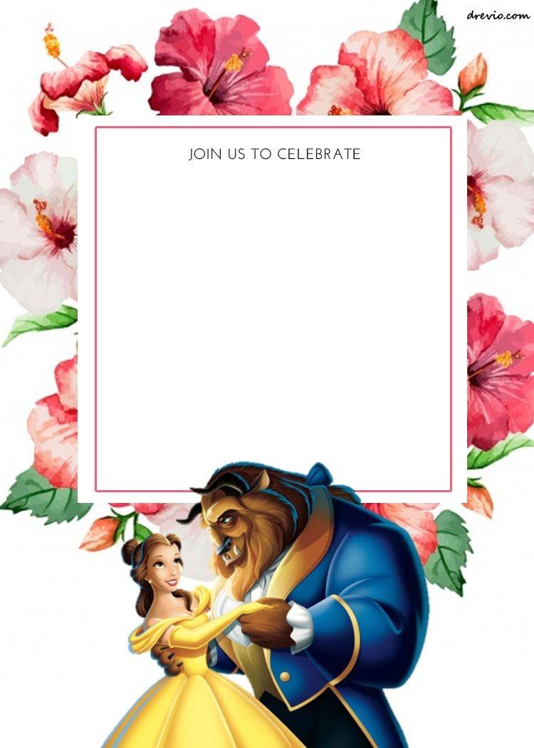 Free Printable Disney Princess Floral Invitation Template | Free - Free Printable Disney Invitations