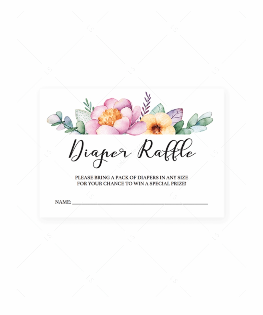 Free Printable Floral Diaper Raffle Tickets Free Png Images - Diaper Raffle Template Free Printable