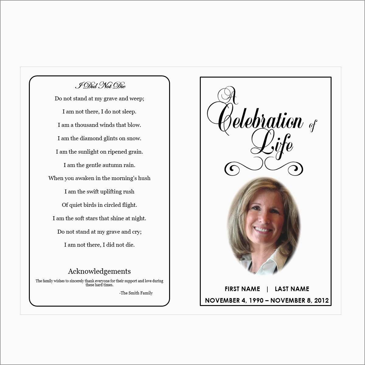 Free Printable Funeral Prayer Card Template Prettier Free Printable - Free Printable Memorial Card Template