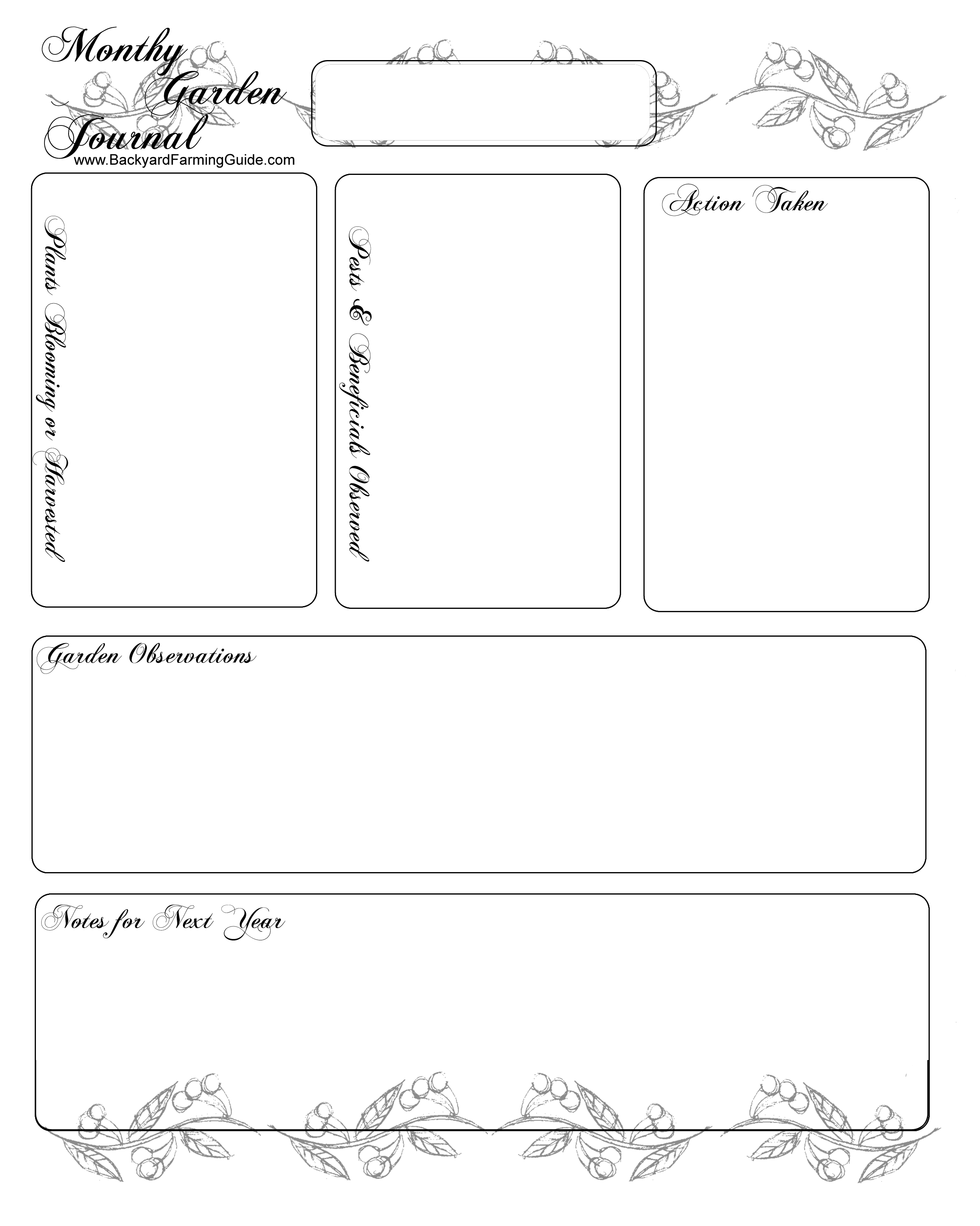 Free Printable Gardening Journal Pages - Free Printable Journal Pages